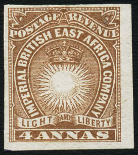 BRITISH EAST AFRICA 1890 4A IMPERFORATE