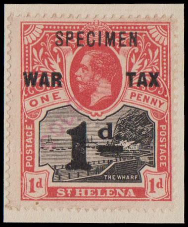 SAINT HELENA 1919 WAR TAX RECEIVING AUTHORITY SPECIMEN