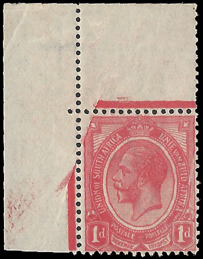 SOUTH AFRICA 1913 KGV 1D PRINT OMITTED, PAPER FOLD