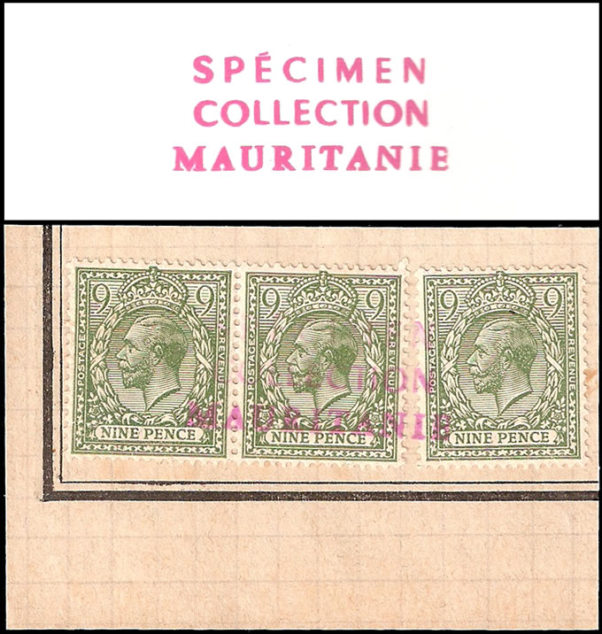 GREAT BRITAIN 1922 KGV 9D MAURITANIA ARCHIVE SPECIMENS, UNIQUE
