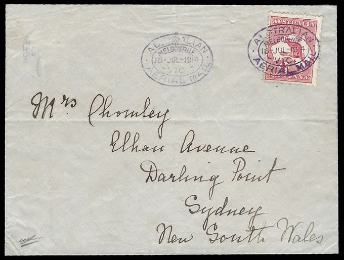 Australia 1914 First Airmail 1d Roo Cover, 2 Known, Superb