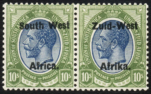 South West Africa 1923 KGV 10/- Setting II VF/M Pair