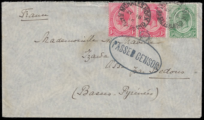 BASUTOLAND 1915 CENSORED COVER MOHALESHOEK TO FRANCE