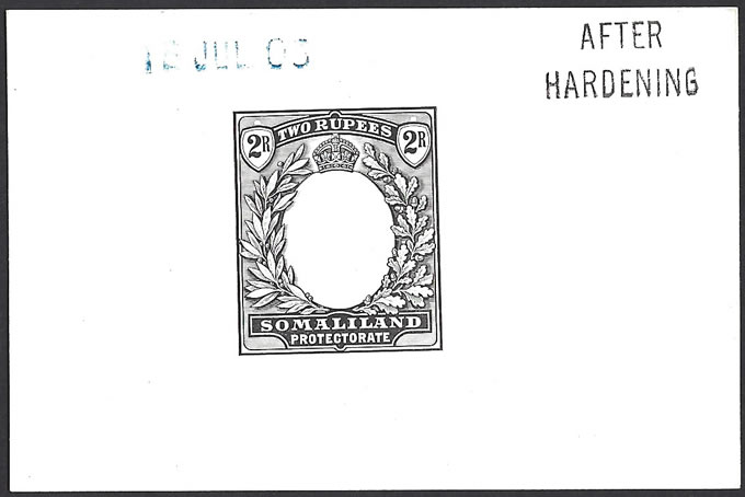 SOMALILAND 1904 KEVII 2R DIE PROOF AFTER HARDENING, RARE
