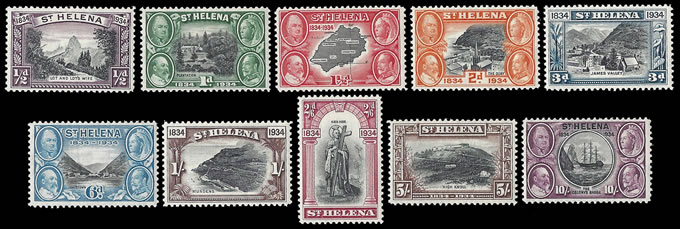 SAINT HELENA 1934 CENTENARY SET VF/M