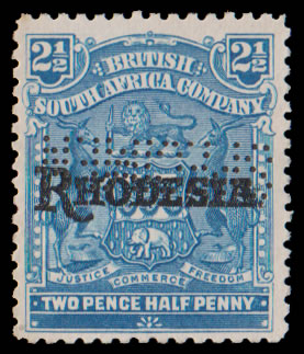 Rhodesia 1909 Arms Overprinted 2½d Perforated Specimen