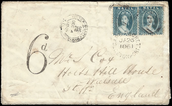 NATAL 1861 WONDERFUL CHALON LETTER WITH 3D PAIR