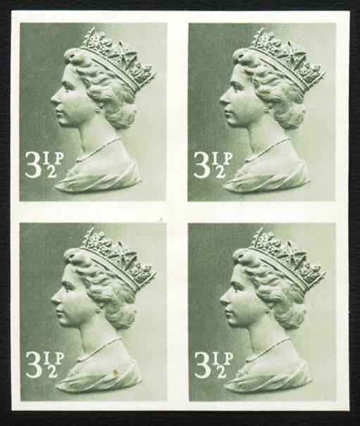 GREAT BRITAIN 1971 3½P IMPERF BLOCK OF FOUR VF/UM