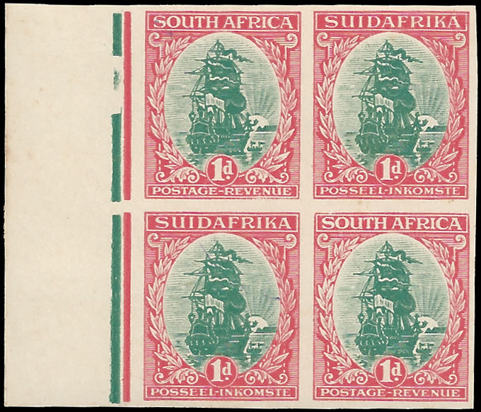 SOUTH AFRICA 1926 1D COLOUR TRIAL PLATE PROOF BLOCK