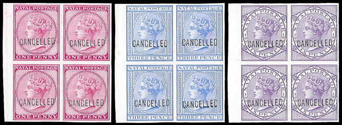 NATAL 1882 QV IMPERF COLOUR PROOF BLOCKS OF FOUR