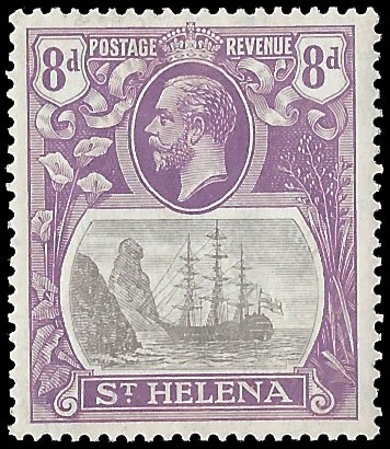 Saint Helena 1923 Badge Issue 8d Torn Flag, Soft Shade
