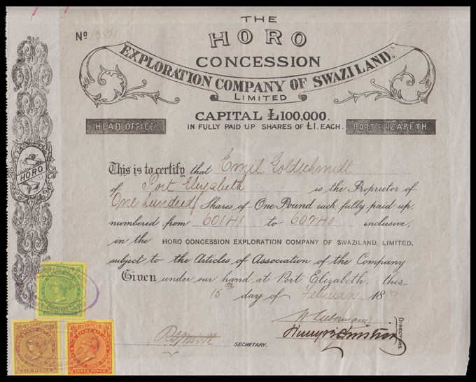 CAPE OF GOOD HOPE 1889 HORO SWAZILAND SHARE CERTIFICATE