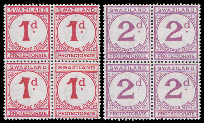 Swaziland Postage Dues 1933 VF/M/UM Blocks of Four
