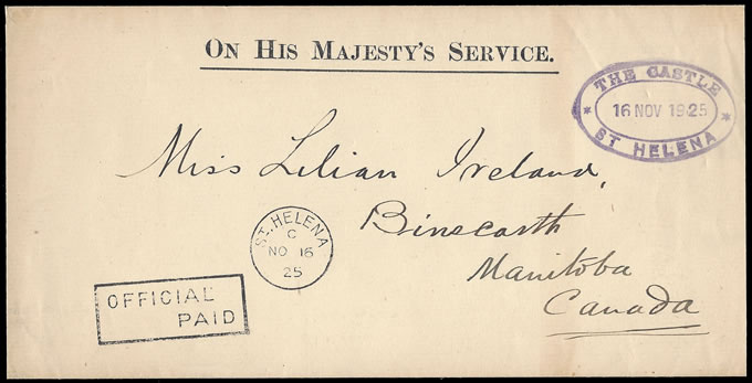 "SAINT HELENA 1925 OFFICIAL ENVELOPE HANDSTAMPED ""THE CASTLE"""