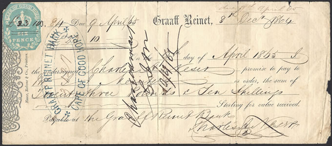 Cape of Good Hope 1864 Promissory, 6d Embossed, Graaff-Reinet
