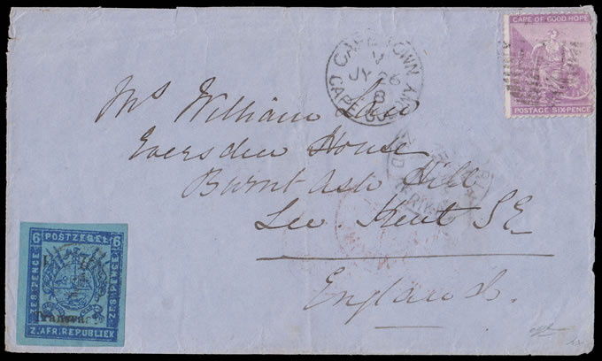 Transvaal 1878 Cape Combination Letter VR Transvaal Ovpt