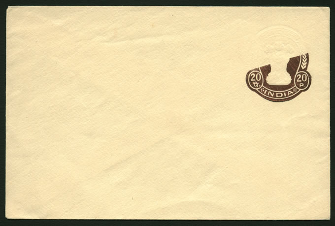 INDIA 1974 20P STATIONERY ENVELOPE VARIETY