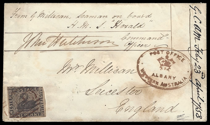 WESTERN AUSTRALIA 1858 SEAMAN'S LETTER WITH 1D SWAN FRANKING