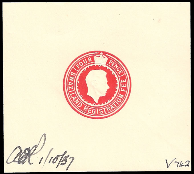 SWAZILAND 1937 RARE KGVI REGISTRATION ENVELOPE DIE PROOF