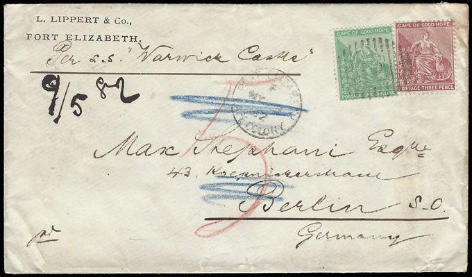 CAPE OF GOOD HOPE 1882 DOUBLE RATE WARWICK CASTLE TO GERMANY