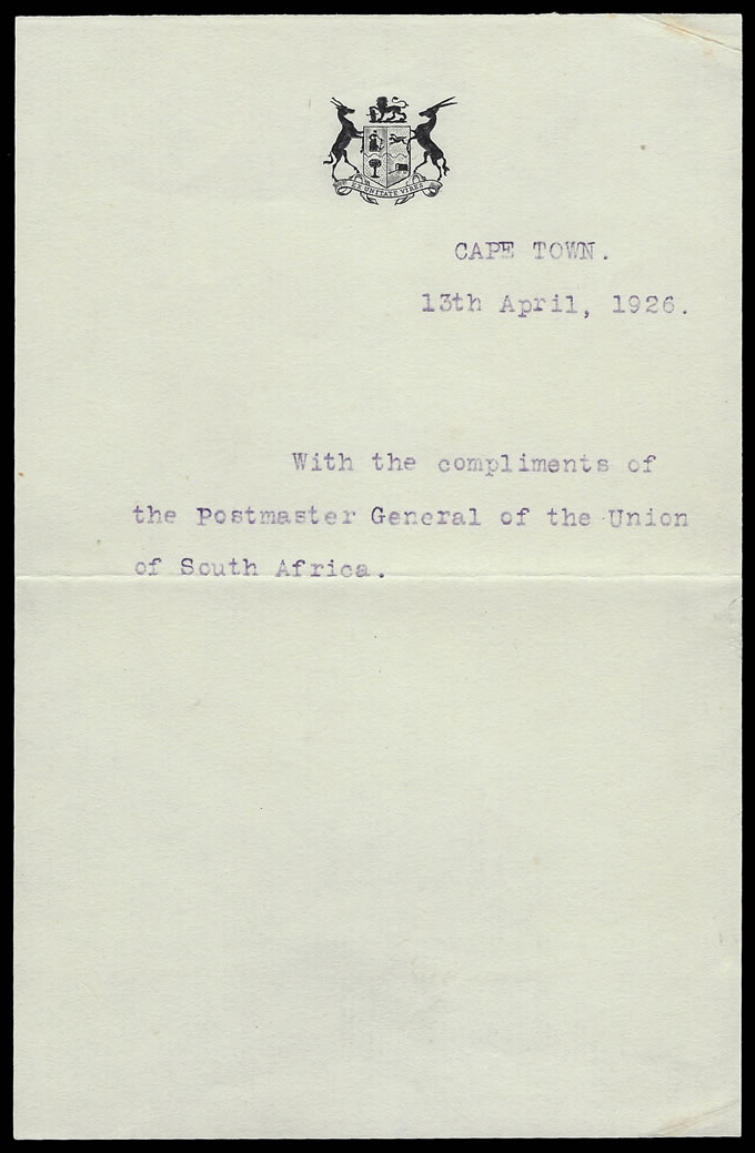 SOUTH AFRICA 1925 AIRMAILS OFFICIAL PRESENTATION CARD PMG SIGNED