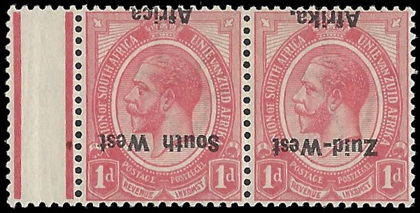 SOUTH WEST AFRICA 1923 KGV 1D OVERPRINT INVERTED VF/M PAIR