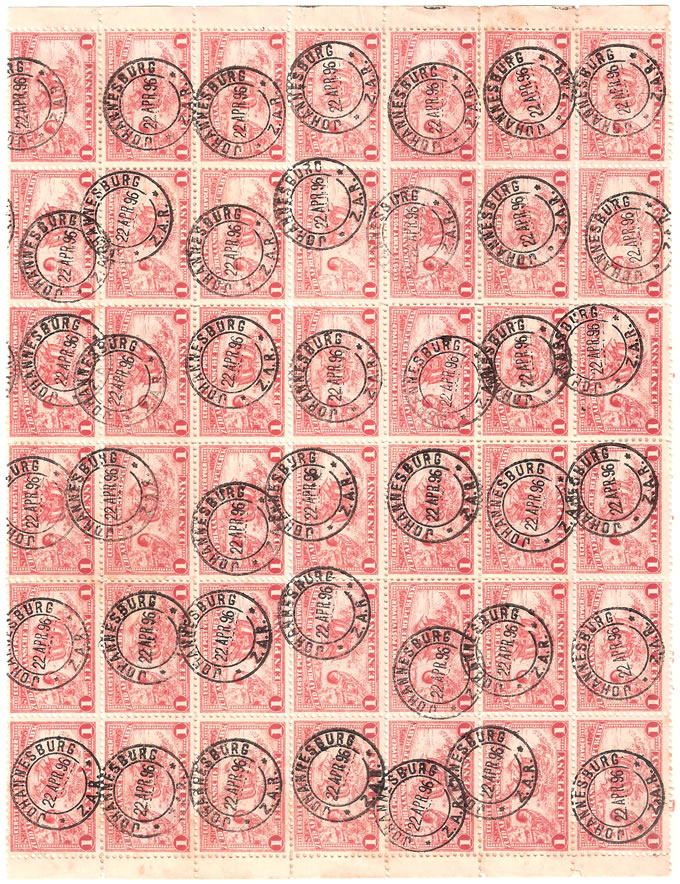 TRANSVAAL 1895 1d PENNY POSTAGE CANCELLED BLOCK OF 42