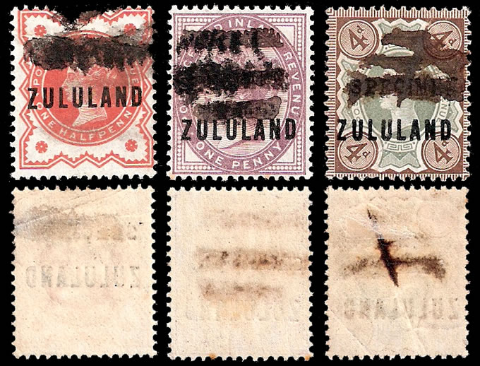 Zululand 1888 ½d, 1d & 4d Somerset House Trials