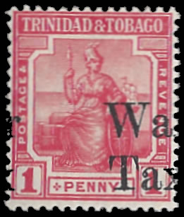 Trinidad & Tobago 1918 War Tax 1d Gross Misplacement Overprint - Click Image to Close