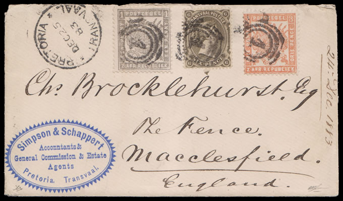 Transvaal 1883 Christmas Mailing, Bourne Celliers Combination