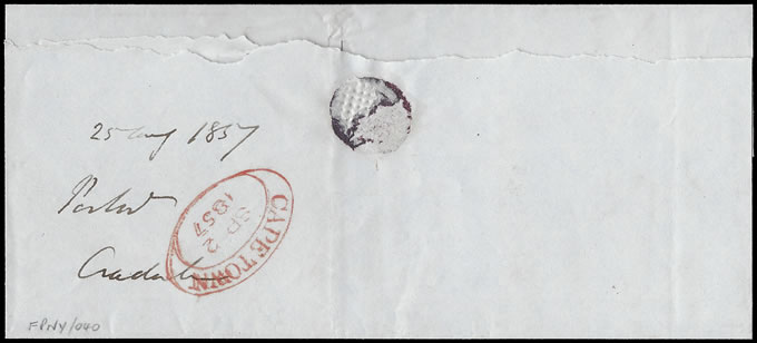 Cape of Good Hope 1857 Immaculate Prepaid Wrapper Cradock