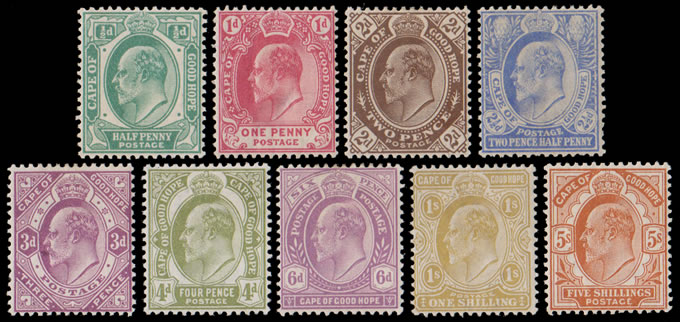 CAPE OF GOOD HOPE 1902 KEVII ½D - 5/- FULL SET VF/M