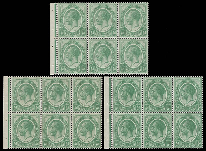 SOUTH AFRICA 1913 KGV ½D BOOKLET PANES INVERTED WMK