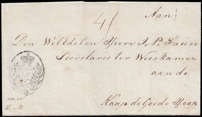 CAPE OF GOOD HOPE 1806c MEDALLION HANDSTAMP WRAPPER