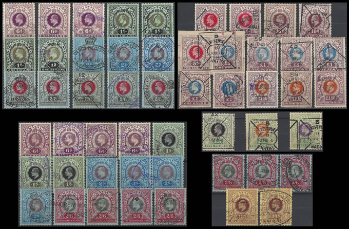 NATAL REVENUES 1908-10 KEVII FULL SETS TO RARE £20