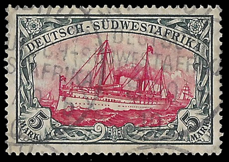 SOUTH WEST AFRICA 1906 5M YACHT VF USED