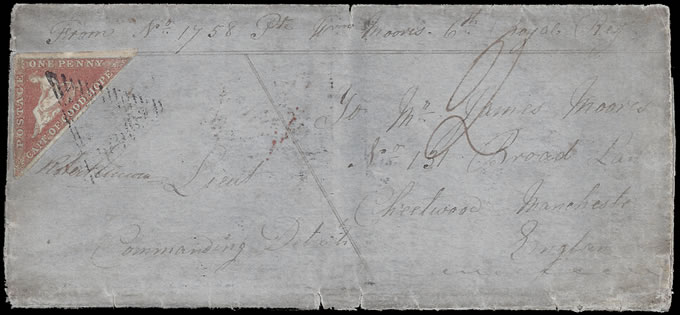 Cape of Good Hope 1856 1d Triangle Early Soldier's Letter, Rare
