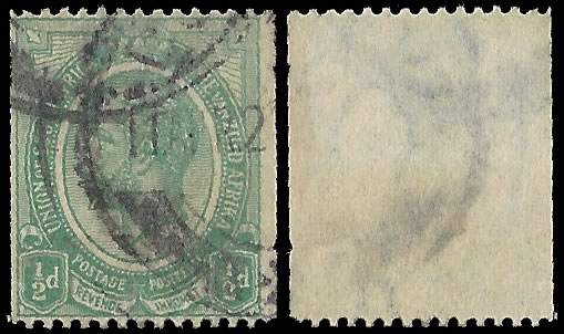 SOUTH AFRICA 1913 KGV ½D COIL INVERTED WATERMARK, RARE