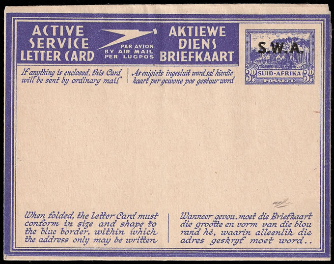 SOUTH WEST AFRICA 1943 AEROGRAMME TYPE IV, RARE