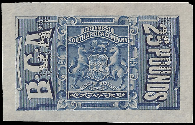 Nyasaland 1891 Revenue BCA £25 Blue Imperforate Proof