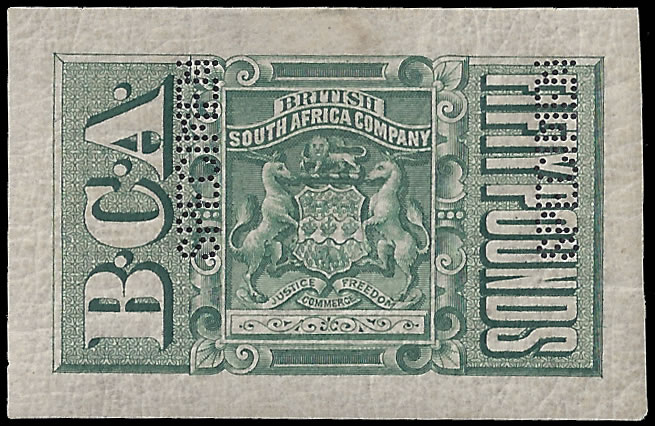 Nyasaland 1891 Revenue BCA £50 Green Imperforate Proof