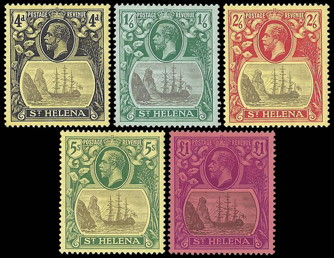 SAINT HELENA 1922 BADGE ISSUE 4D - £1 FULL SET SUPERB M