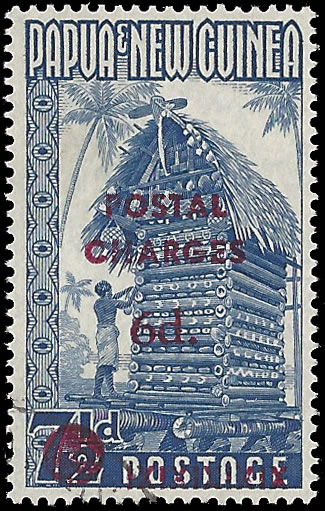PAPUA NEW GUINEA POSTAGE DUE 1960 6D ON 7�D T.1 VF/U, CERT