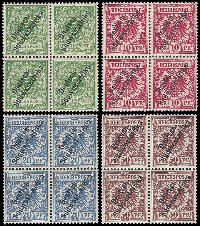 South West Africa 1898 5Pfg - 50Pfg VF/M Blocks, Scarce
