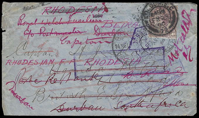 Rhodesia 1900 Rhodesia Field Force Letter, Much Re-Directed
