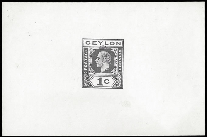 CEYLON 1919 KGV 1C DIE PROOF, SINGLE PLATES, UNMARKED
