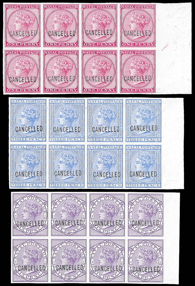 NATAL 1882 QV IMPERF COLOUR PROOF BLOCKS OF EIGHT