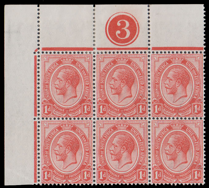South Africa 1913 KGV 1d Plate Block Inverted Watermark etc