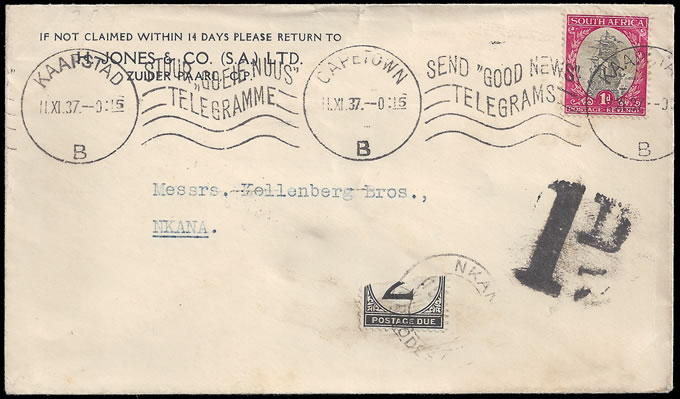 Northern Rhodesia Postage Due 1937 Bisected 2d at Nkana