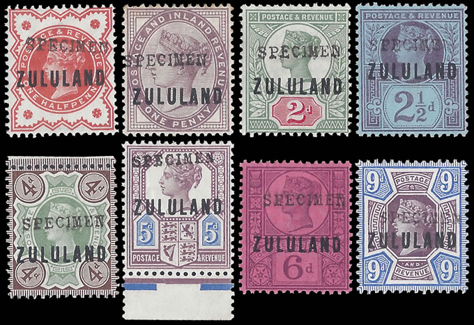 Zululand 1888 ½d - 9d GB9 Somerset House Specimen Group